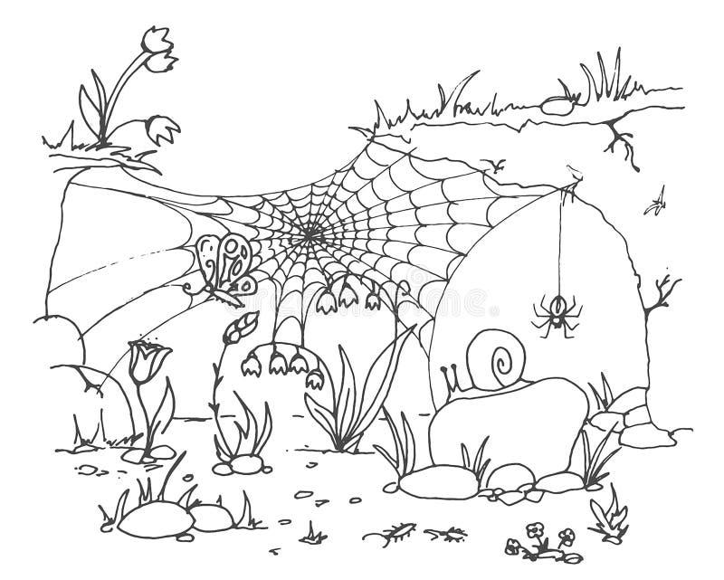 Coleção do fundo transparente isolado teia de aranha Spiderweb para o projeto de Dia das Bruxas Elementos da Web de aranha assust ilustração stock
