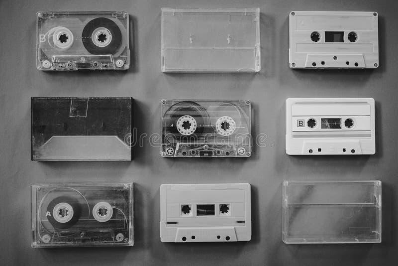 Coleção do gravador de cassetes da fita do vintage fotos de stock royalty free