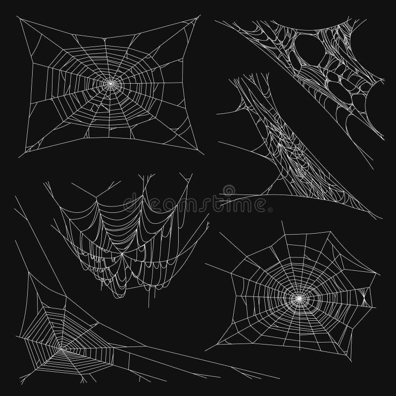 Coleção do grupo da teia de aranha, isolada no fundo preto ilustração do vetor