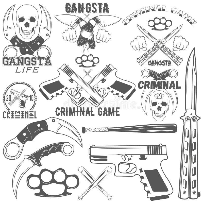 Coleção do grupo do vetor e de logotypes criminosos ilustração stock