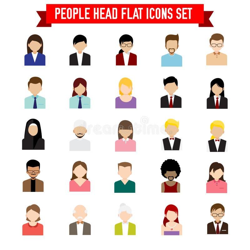 Coleção do grupo liso do ícone da cabeça dos povos isolado no backgr branco ilustração do vetor