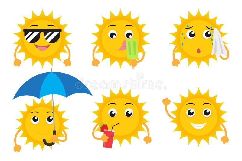 Coleção do grupo do vetor dos caráteres da mascote do sol dos desenhos animados ilustração do vetor