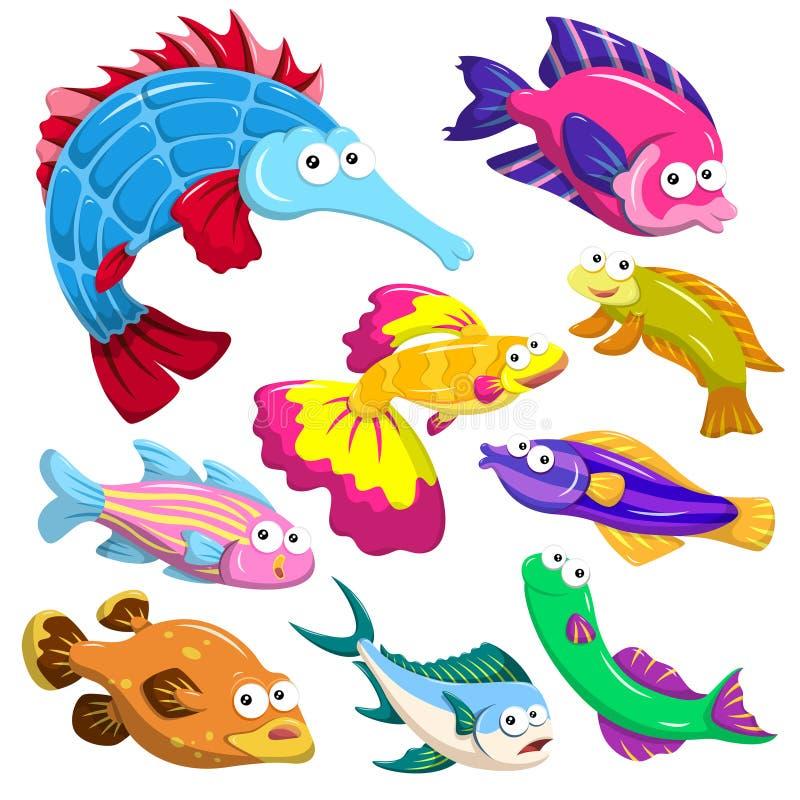 Coleção do illusration do animal de mar dos desenhos animados ilustração royalty free