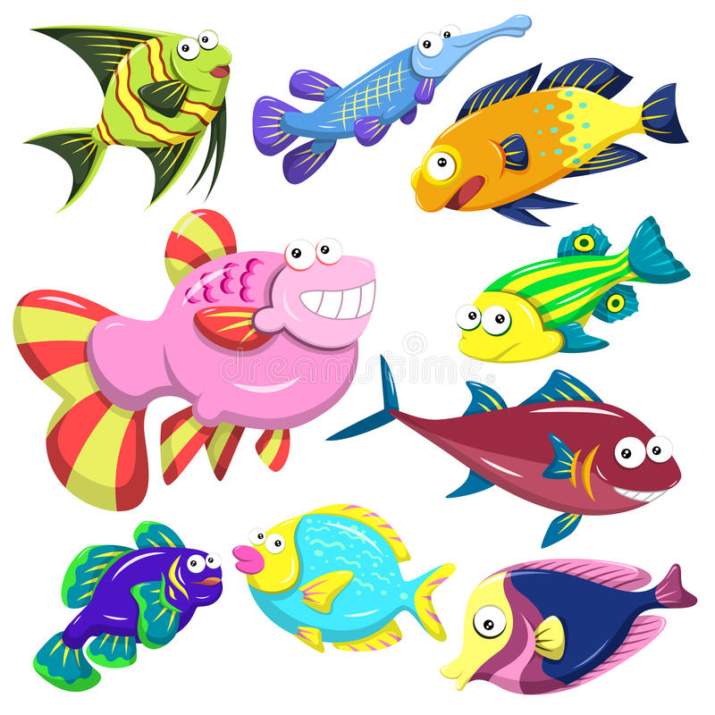 Coleção do illusration do animal de mar dos desenhos animados ilustração do vetor
