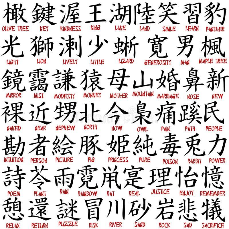 Coleção do Kanji ilustração stock