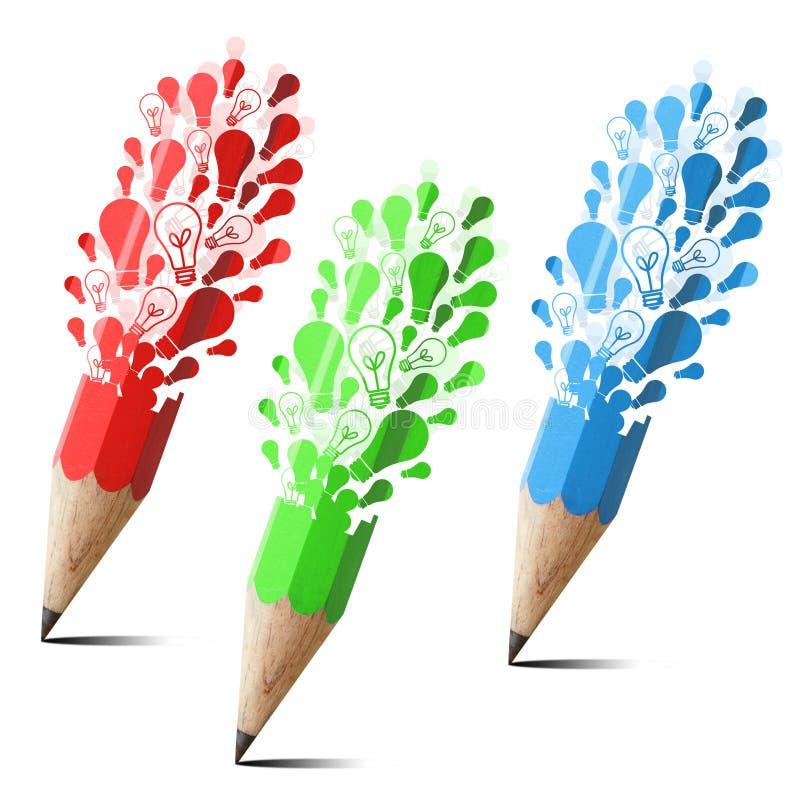 Coleção do lápis creativo com tampão da lâmpada. ilustração stock