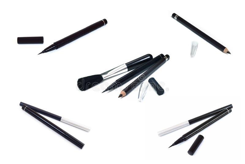 Coleção do lápis de olho da composição dos cosméticos, forro preto do olho do lápis imagem de stock