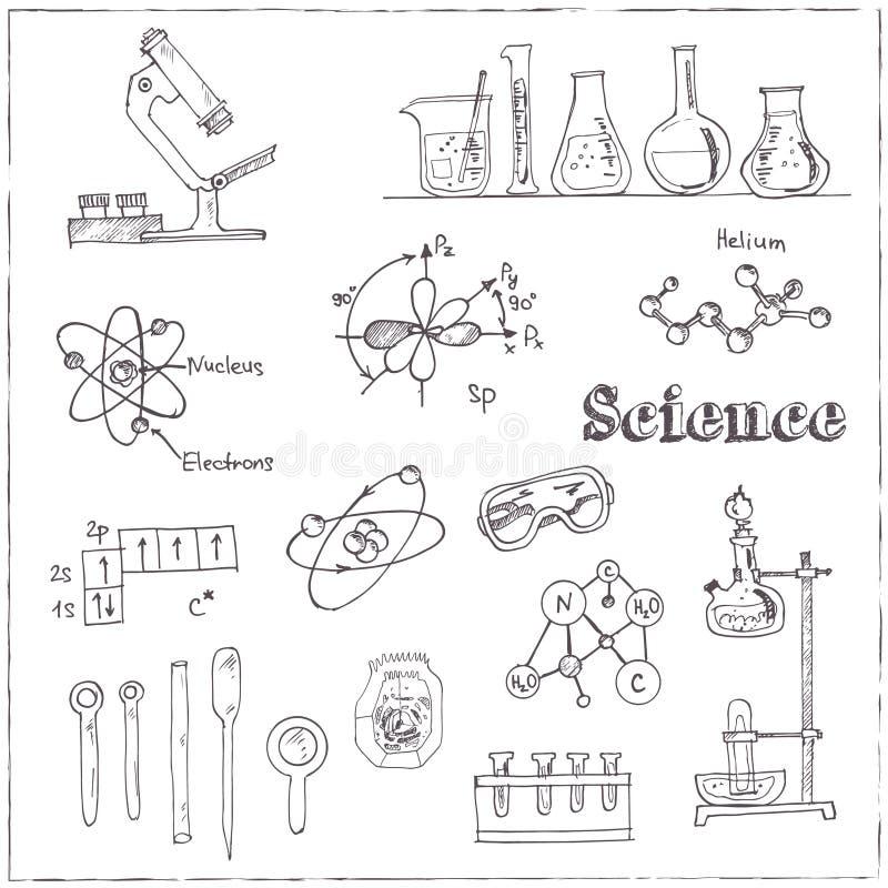 A coleção do laboratório de ciência tirado mão da garatuja do vetor objeta ilustração do vetor
