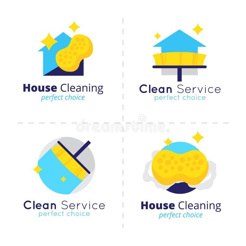 Coleção do logotipo da limpeza da casa do vetor Grupo de símbolo do serviço da limpeza ilustração royalty free