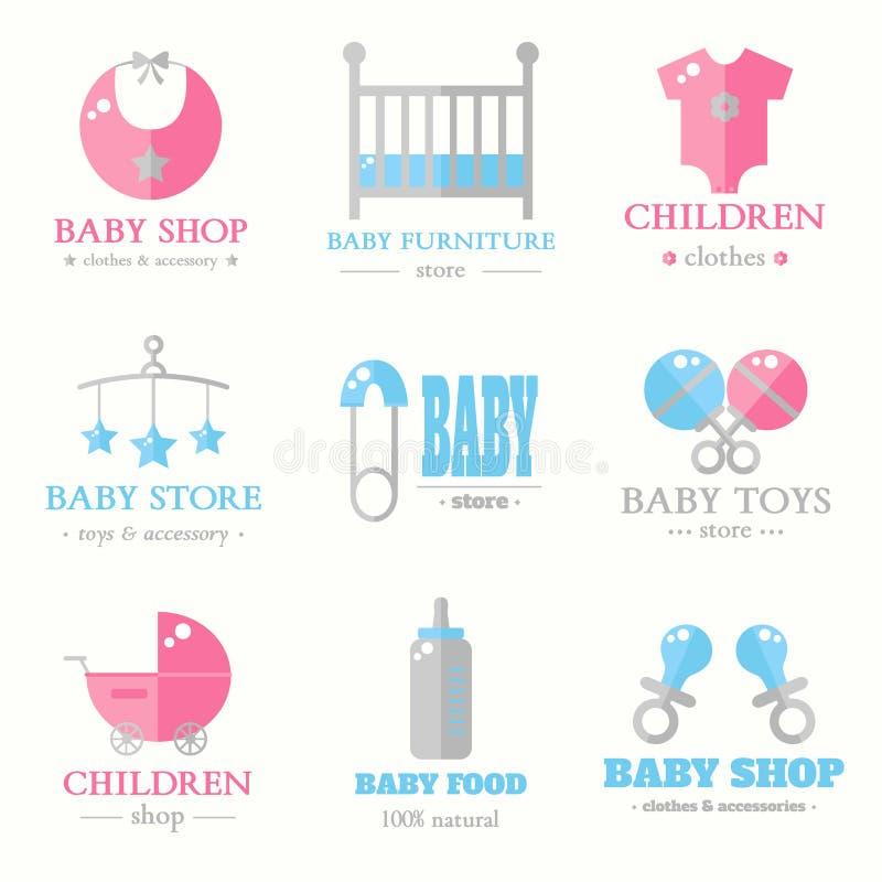 Coleção do logotipo do bebê fotografia de stock