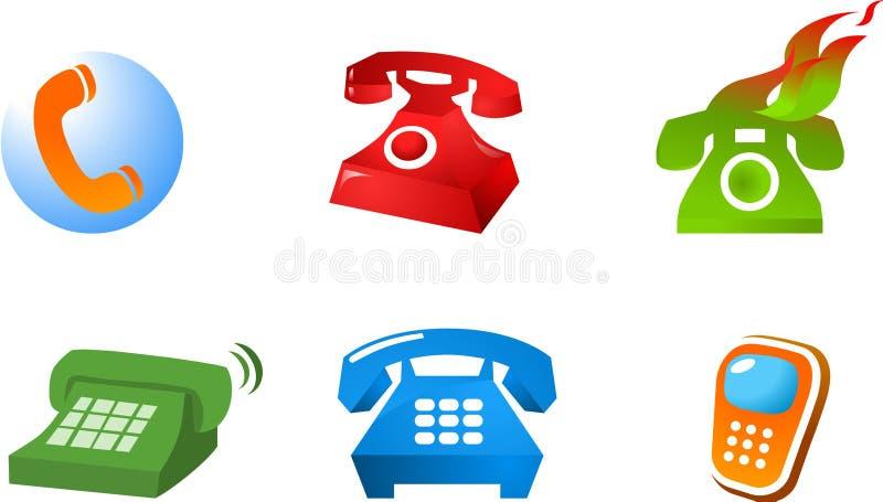 Coleção do logotipo e ícones dos telefones ilustração royalty free