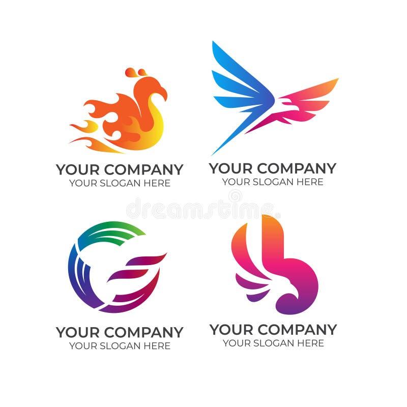 Coleção do logotipo do negócio de Eagle ilustração stock