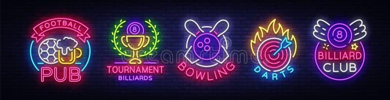 Coleção do logotipo no estilo de néon Ajuste o bar do futebol dos sinais de néon, bilhar, boliches, dardos Vida noturno, quadro i ilustração stock