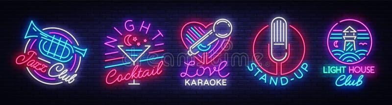Coleção do logotipo no estilo de néon A coleção Jazz Club dos sinais de néon, cocktail da noite, karaoke, levanta-se, clube notur ilustração do vetor