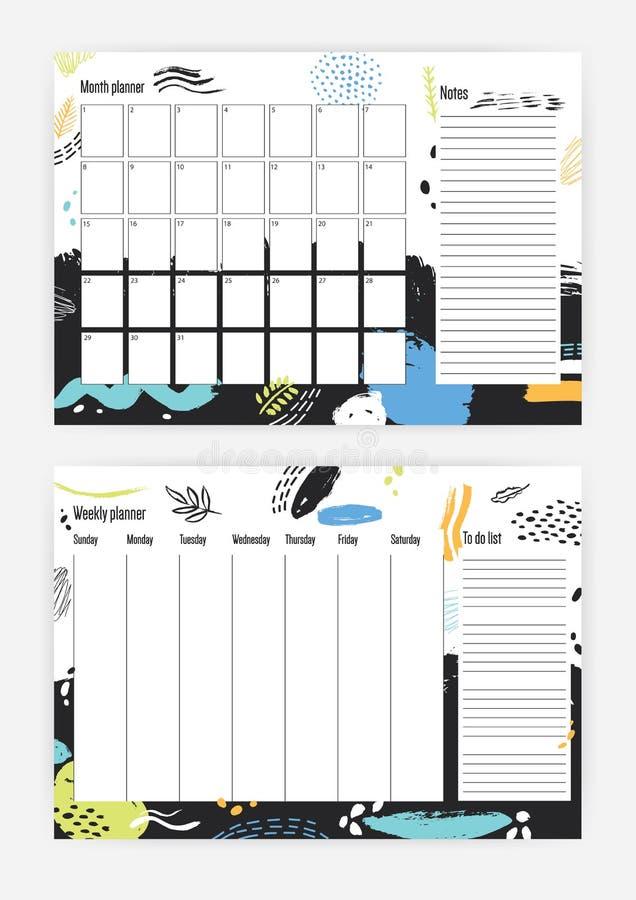 Coleção do mês e dos moldes semanais com a semana que começa em domingo, pilhas quadradas do planejador para notas, sumário color ilustração stock