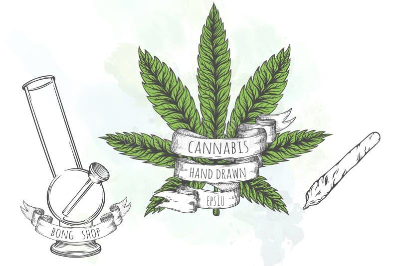 Coleção do material da marijuana ilustração royalty free