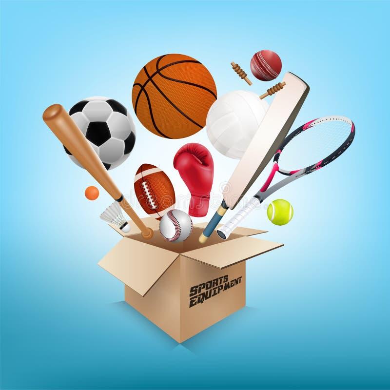 Coleção do material desportivo fora da caixa ilustração royalty free