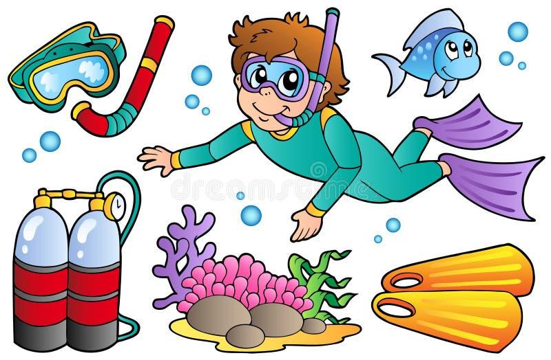 Coleção do mergulho autónomo ilustração stock
