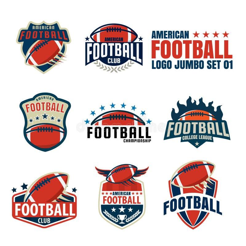 Coleção do molde do logotipo do futebol americano ilustração royalty free