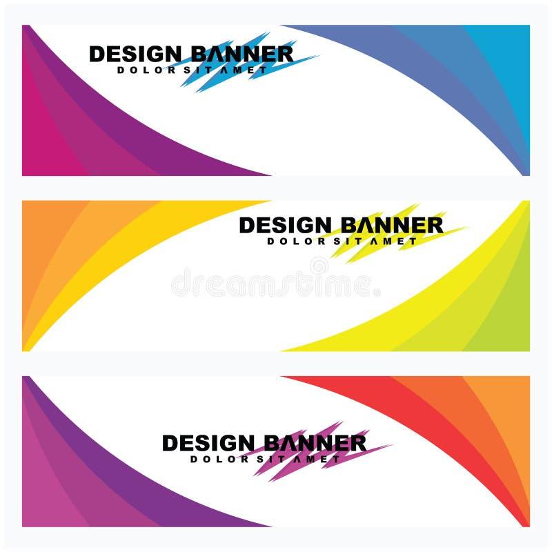 A coleção do molde do projeto da bandeira da Web, Vector o molde abstrato da bandeira da Web do projeto ilustração do vetor
