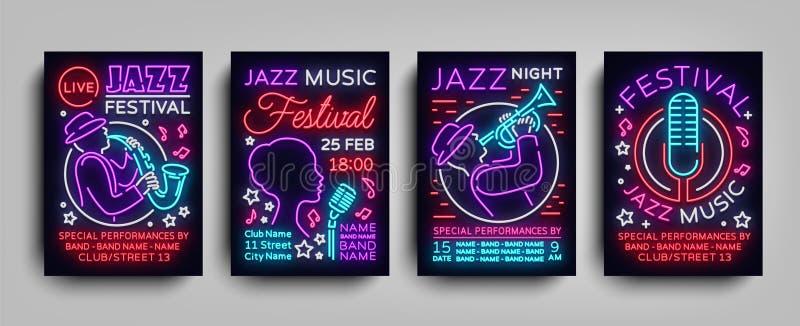 Coleção do néon dos cartazes de Jazz Festival Sinal de néon, folheto de néon do estilo, molde do convite do projeto para a música ilustração royalty free