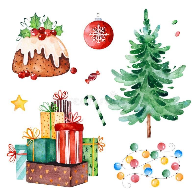 Coleção do Natal com árvore de Natal, doces, festão, presentes e outras decorações ilustração royalty free