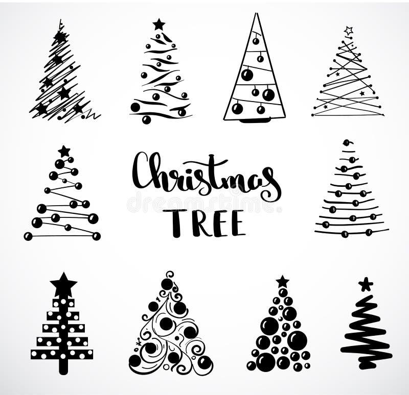 Coleção do Natal de árvores decorativas Objeto no fundo branco Garatujas e esboços Ícone da árvore do conceito ilustração royalty free