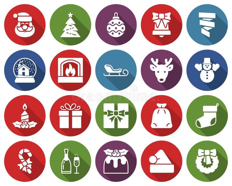Coleção do Natal de ícones redondos ilustração stock