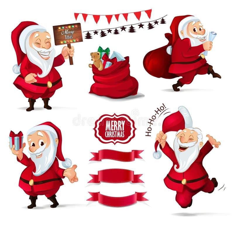 Coleção do Natal dos caráteres de Santa Claus, bandeiras da fita para seu projeto de design ilustração do vetor