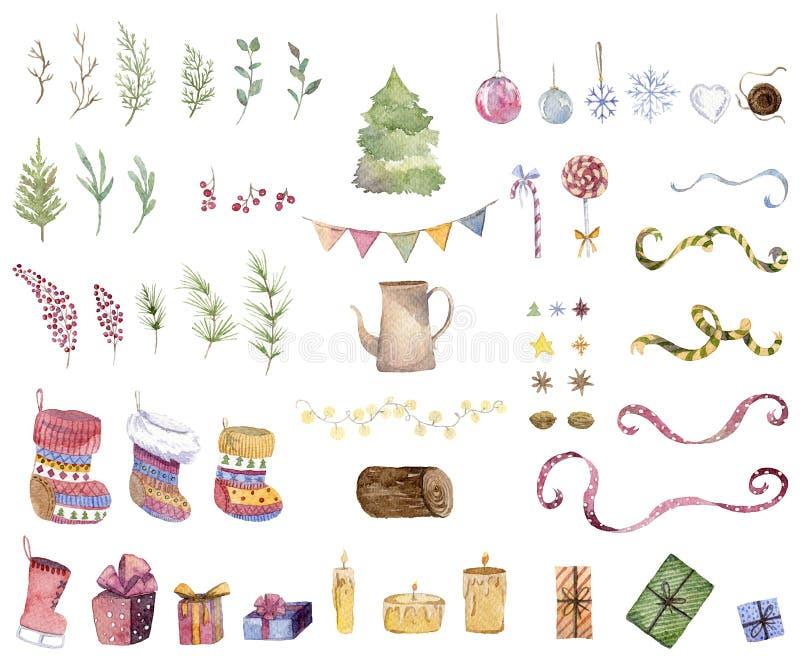 Coleção do Natal e do ano novo Grupo de ícones do Natal Elementos isolados no fundo branco Caixas de presente, presentes, doces,  ilustração royalty free