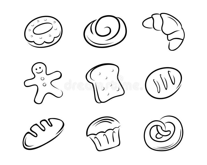 Coleção do pão ilustração royalty free