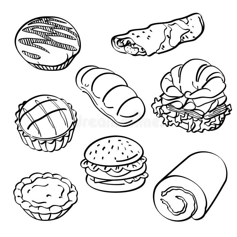 Coleção do pão e do bolo ilustração royalty free