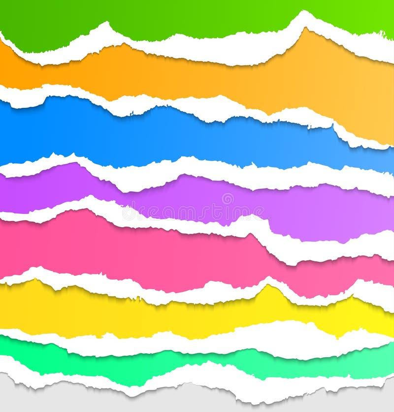Coleção do papel rasgado colorido ilustração do vetor