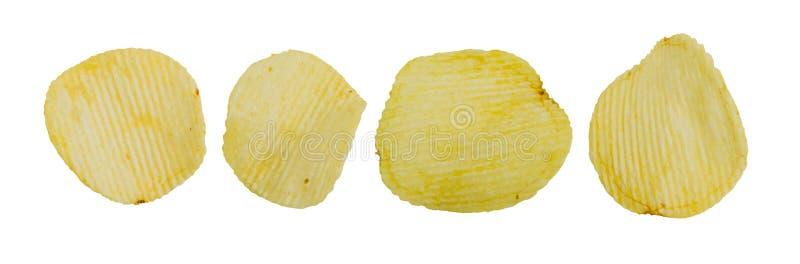 Coleção do petisco fritado das microplaquetas de batata no fundo branco fotografia de stock