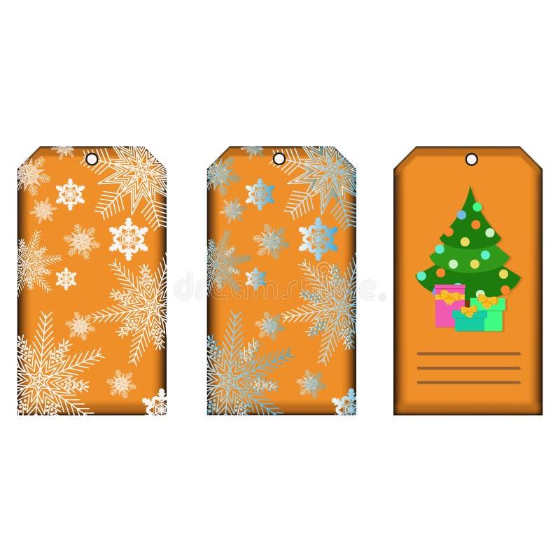 A coleção do presente do Natal e do ano novo etiqueta ilustração do vetor