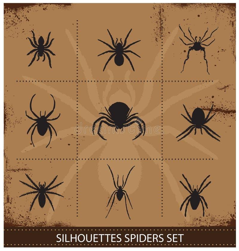 Coleção do vetor das silhuetas das aranhas ilustração stock
