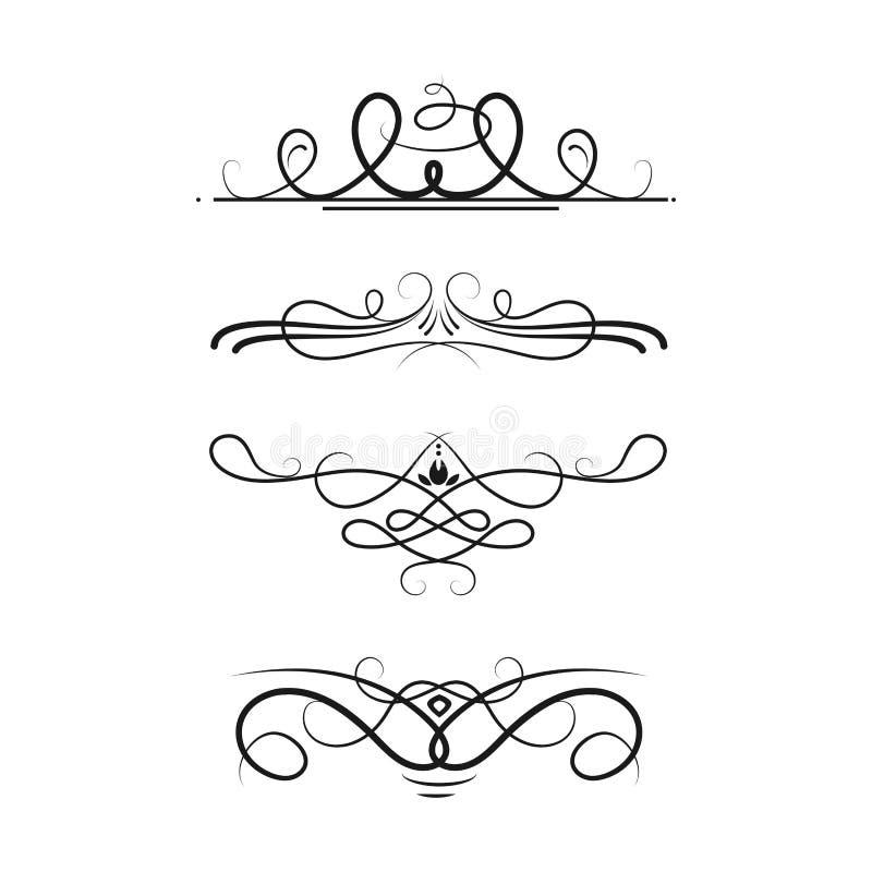 Coleção do projeto caligráfico do quadro da beira do vintage do estilo dos divisores do vetor da ilustração decorativa ilustração royalty free