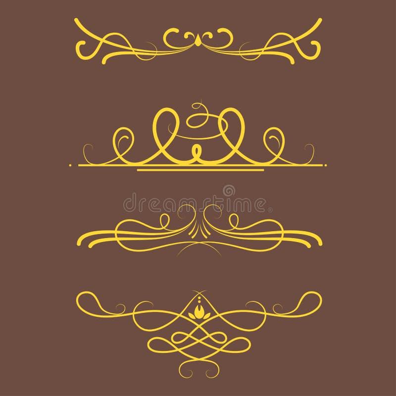 Coleção do projeto caligráfico do quadro da beira do vintage do estilo dos divisores do vetor da ilustração decorativa ilustração do vetor