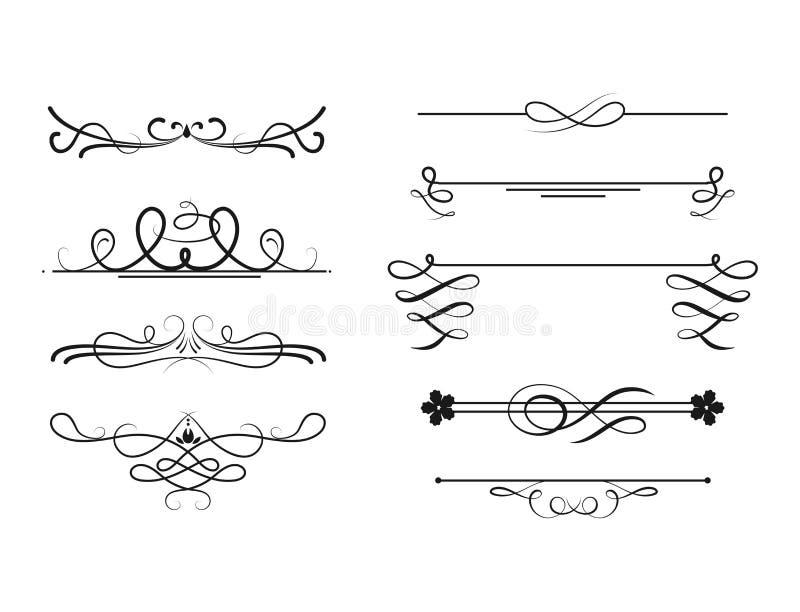 Coleção do projeto caligráfico do quadro da beira do vintage do estilo dos divisores do vetor da ilustração decorativa ilustração stock
