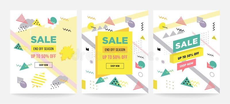Coleção do projeto de cartões da venda do estilo de Memphis de moldes coloridos com formas geométricas, testes padrões com Memphi ilustração royalty free