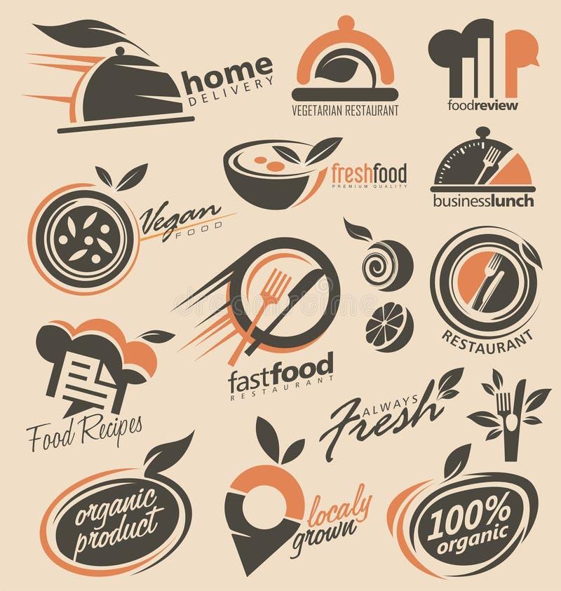 Coleção do projeto do logotipo do restaurante ilustração do vetor