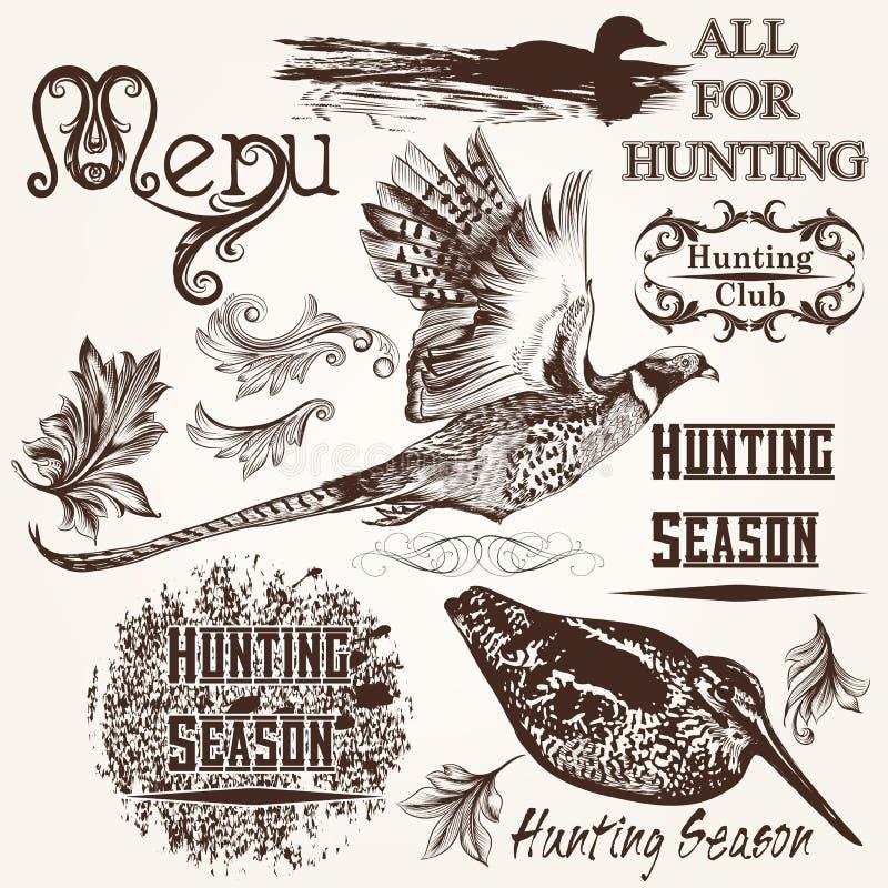 Coleção do projeto tirado mão da época de caça dos animais do vetor ilustração stock