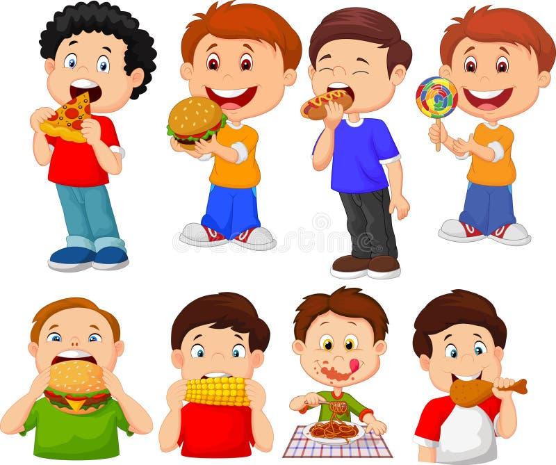 Coleção do rapaz pequeno dos desenhos animados que come o fast food ilustração royalty free