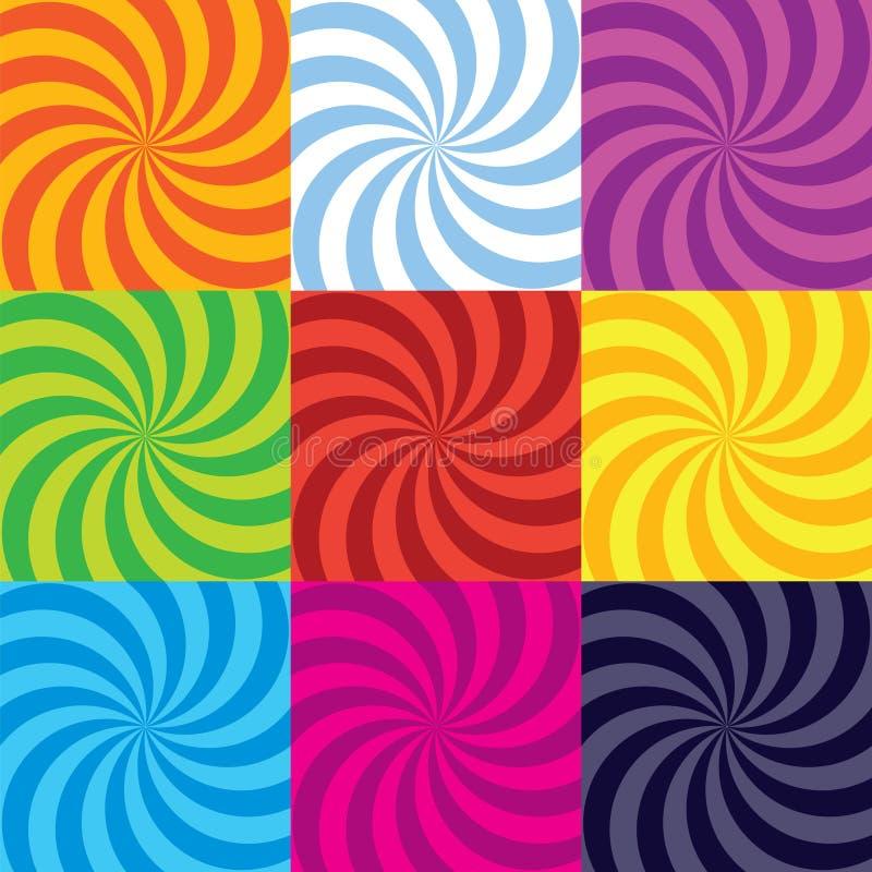 Coleção do redemoinho da espiral da cor-explosão do vetor ilustração royalty free