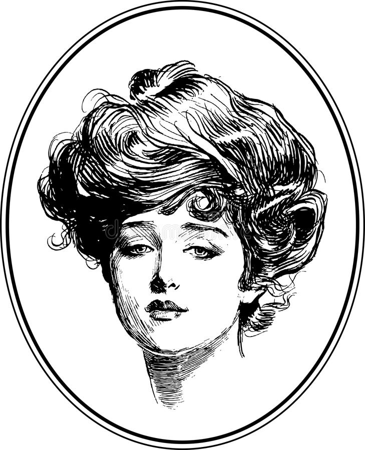Coleção #1 do retrato da mulher do vintage ilustração royalty free