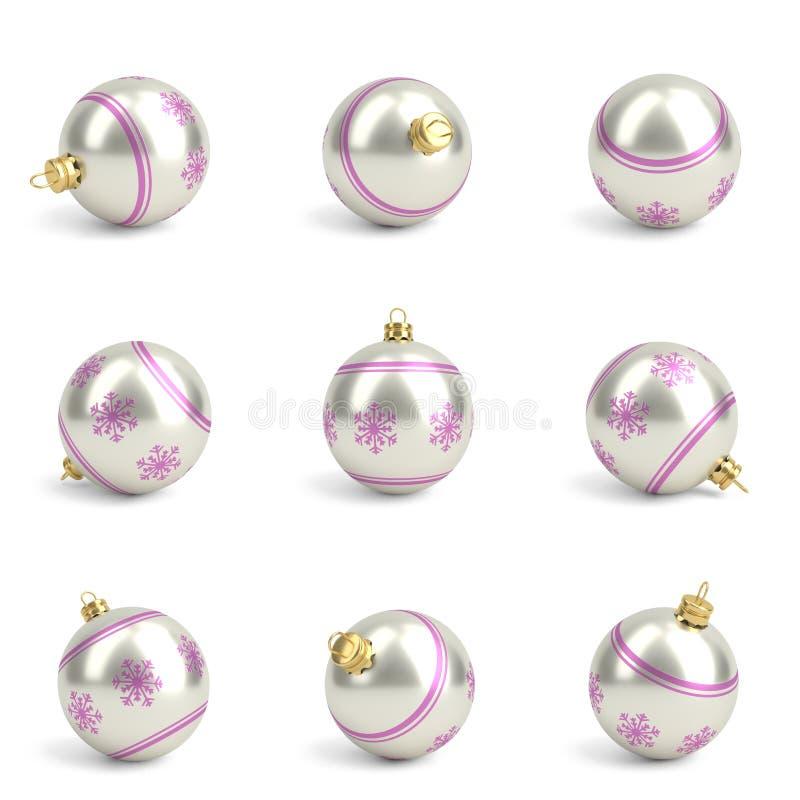 Coleção do rosa e das bolas de prata do Natal Branco isolado 3d rendem ilustração stock