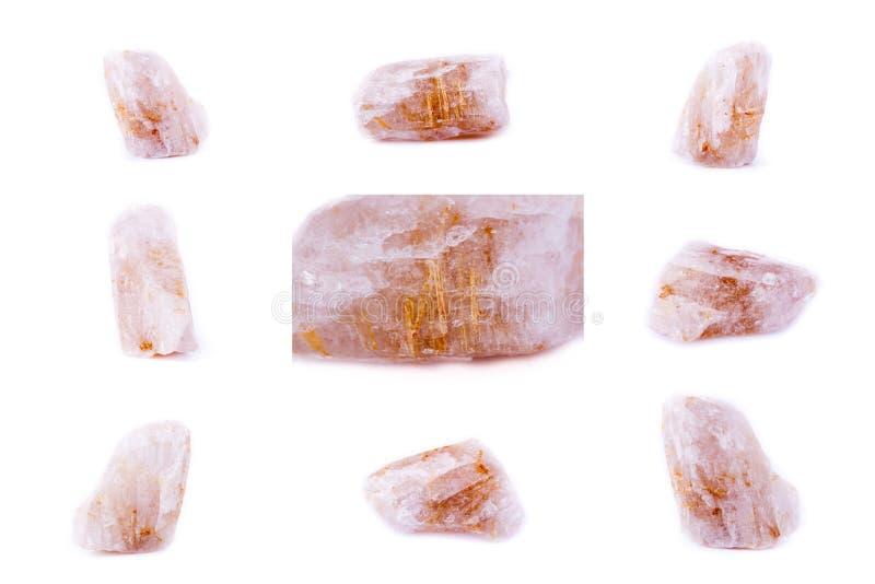 Coleção do Rutile mineral de pedra no quartzo imagem de stock royalty free
