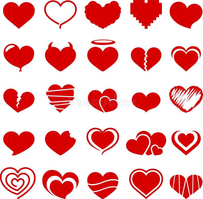 Coleção do símbolo do coração ilustração stock
