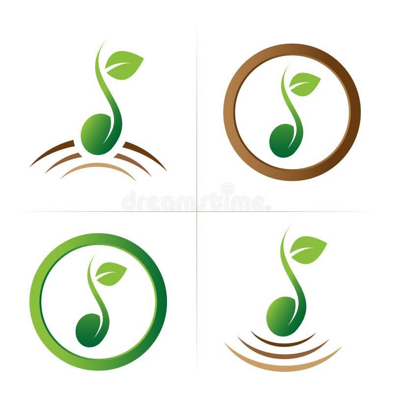 Coleção do símbolo do logotipo da semente ilustração do vetor