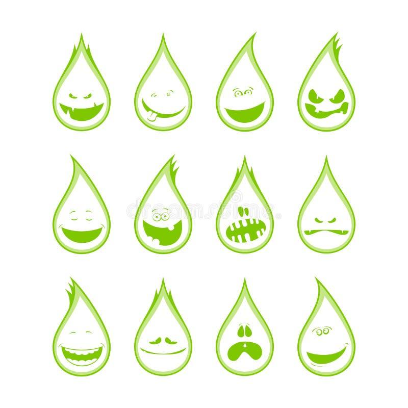 Coleção do símbolos engraçados das gotas, emoções ilustração do vetor